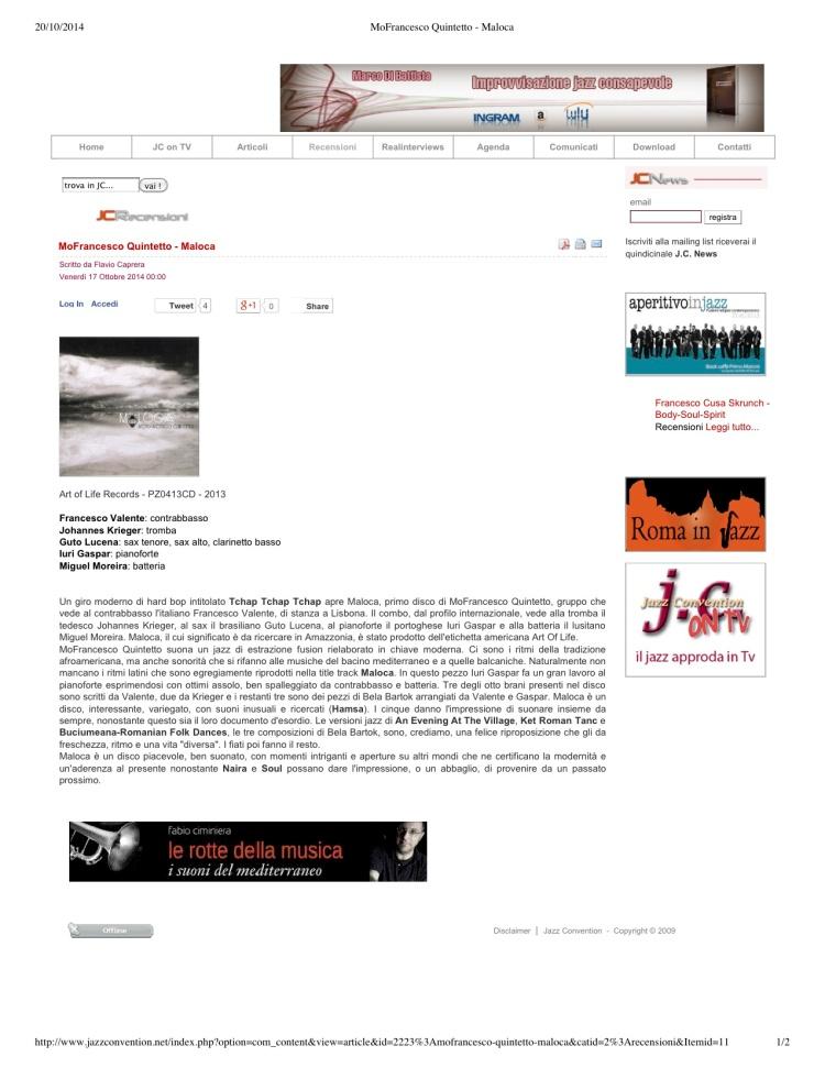 """Jazz Convention """"MoFrancesco Quintetto - Maloca"""""""