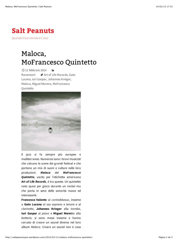 Maloca, MoFrancesco Quintetto | Salt Peanuts