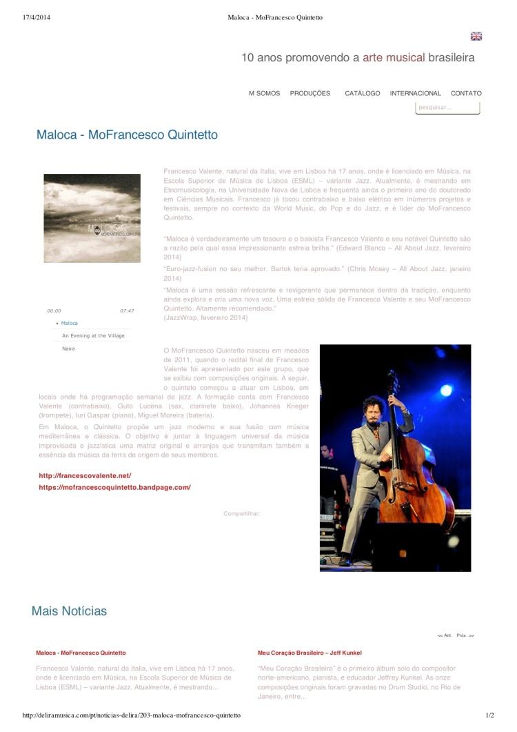 """Pré-visualização de """"Maloca - MoFrancesco Quintetto"""""""